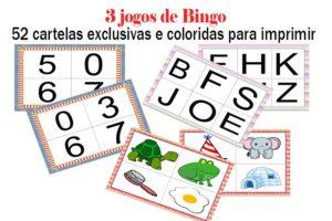 bingos alfabéticos e numéricos